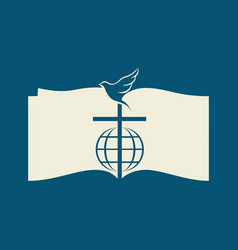 bible cross and dove vector image vector image