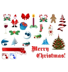 Christmas and New Year items set vector image vector image