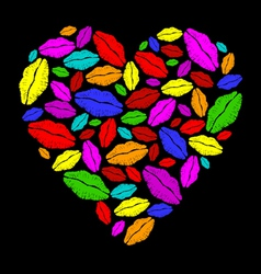 Colorful lipstick heart vector image vector image