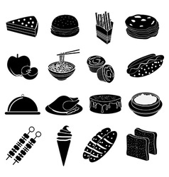 Fast foods icons set vector image vector image