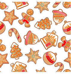 Merry christmas seamless pattern with various vector