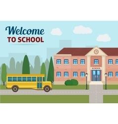 School building and school yellow bus vector image vector image
