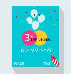 3rd year anniversary invitation design with gift vector image