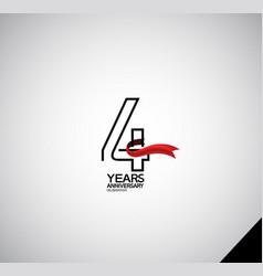 4 years anniversary logotype simple design vector