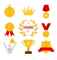Award trophy and medal set vector