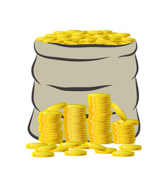 bag with golden money on pile of gold coins vector image