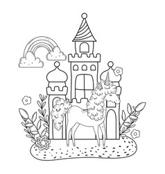 beautiful little unicorn with castle and rainbow vector image