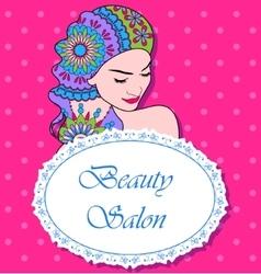 Beauty salon backgrondwith girl painted hair vector