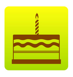 birthday cake sign brown icon at green vector image vector image