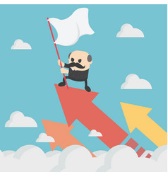 boss businessman holding success flag standing vector image