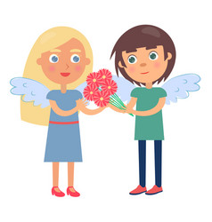 Boy girl couple wings on back man gives flowers vector