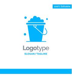 Bucket cleaning floor home blue solid logo vector
