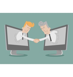 Businessman shake hand Online Business vector image