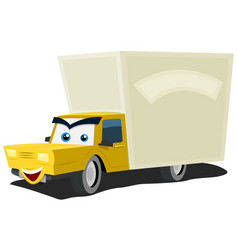 Cartoon delivery truck character vector
