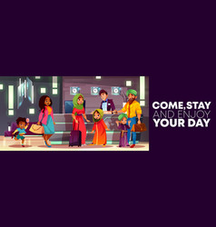 cartoon hotel reception with arab family vector image