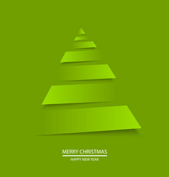 christmas greeting card with origami tree vector image