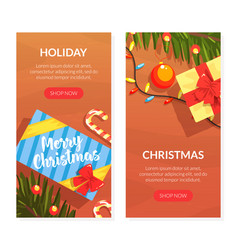 christmas holiday landing page templates set vector image