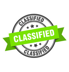 Classified label classified green band sign vector