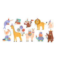 collection cute adorable wild animals vector image