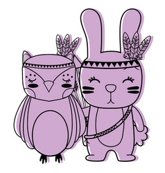 Color owl and rabbit animals with feathers design vector