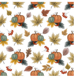 colorful seamless pattern with pumpkins vector image