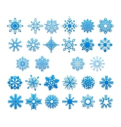 Cool blue snowflakes set vector image
