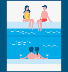 Couple romantic meeting set vector