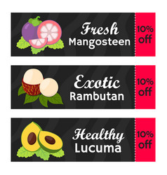 coupons with offs for exotic fruits vector image