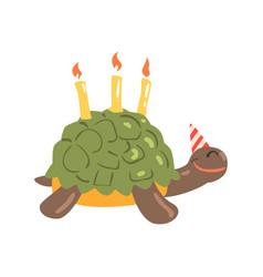 Cute cartoon tortoise happy birthday colorful vector