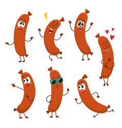 cute funny sausage characters with human face vector image