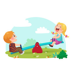 Cute kids having fun on seesaw at playground vector