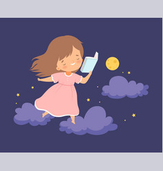 Cute smiling little girl walking on clouds at vector