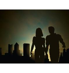 dawn city vector image