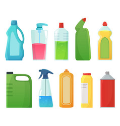 Detergent bottles cleaning supplies products vector
