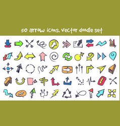 doodle arrow icons set vector image