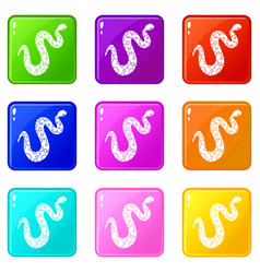 dotted snake icons 9 set vector image