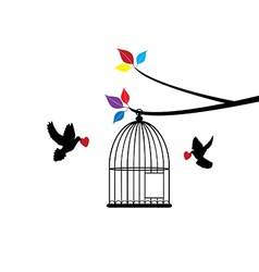 Doves and cage vector image