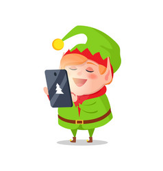 elf cartoon character takes orders on gifts tablet vector image