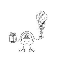 Emoticon with balloons and present vector