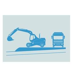 Excavator and dump truck vector