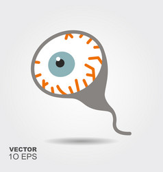 eyeball flat silhouette icon with shadow vector image