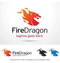 Fire dragon logo template vector