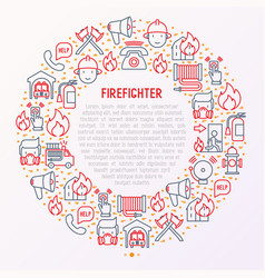 firefighter concept in circle with thin line icons vector image