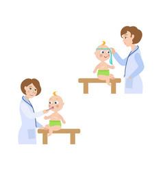 flat female doctor infant baby scene set vector image