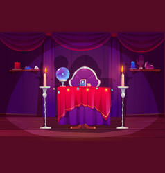 Fortune teller room with magic ball tarot cards vector