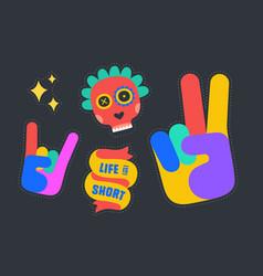 fun stickers colorful fun stickers design vector image