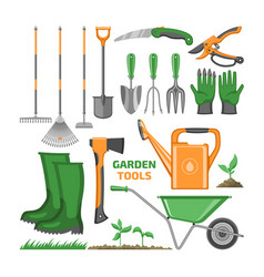 Garden tool gardening equipment rake shovel vector