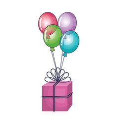 Gift box present with balloons air vector