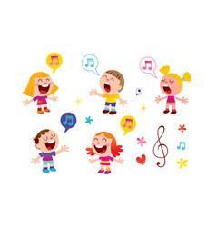 Group of kids singing vector
