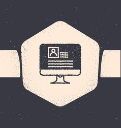 Grunge computer monitor with resume icon isolated vector